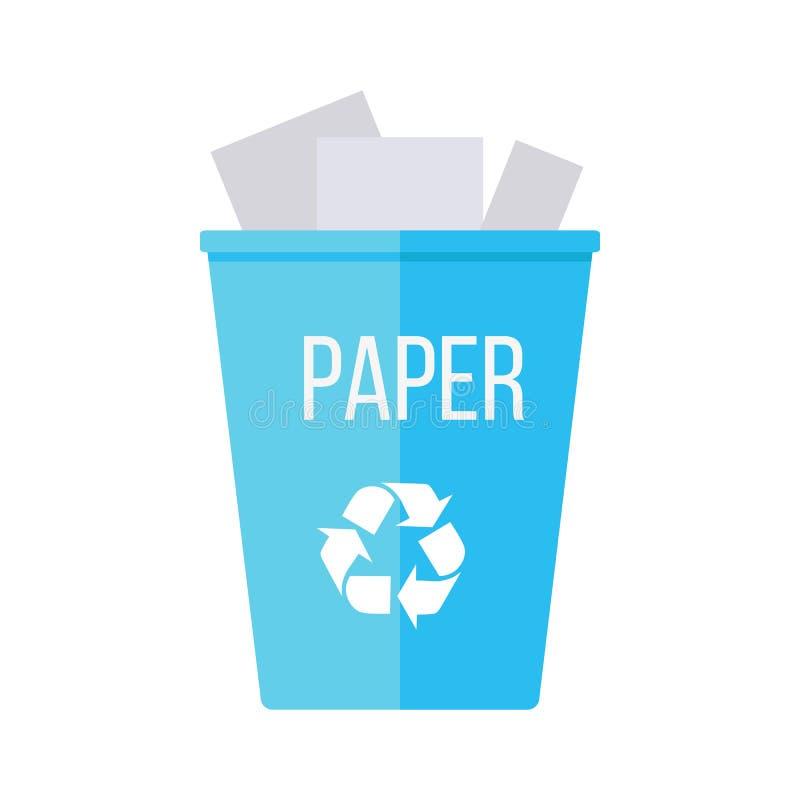 Błękit Przetwarza Śmieciarskiego kosz z papierem royalty ilustracja