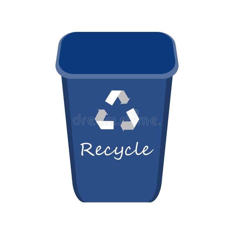 Błękit Przetwarza kosz z przykładami dla rozdzielenia i Utylizowywa śmieci Oszczędzanie środowisko wektoru ilustracja ilustracji