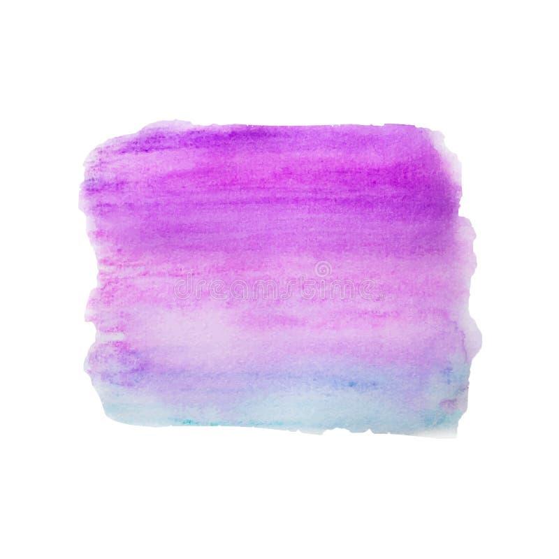 Błękit, purpurowa akwareli ręka malująca, kolorowi gradientów lampasy odizolowywający na białym tle Abstrakt rzadkopłynny atramen ilustracji
