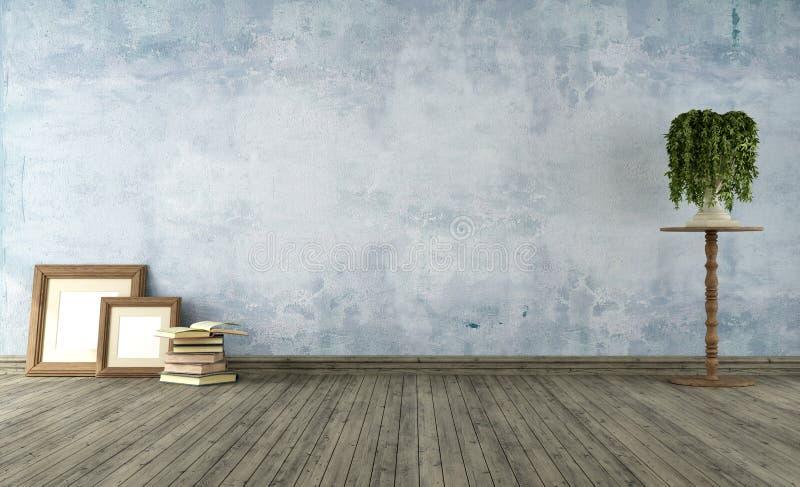 Błękit pusty rocznika pokój ilustracja wektor