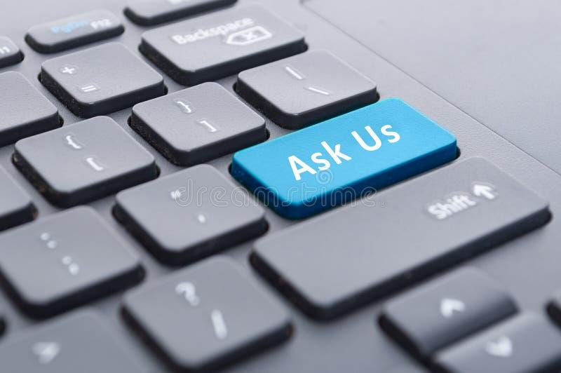 Błękit pyta my zapinać na klawiaturowym pojęciu zdjęcia stock