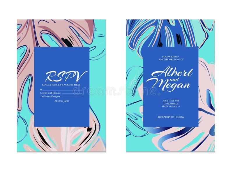 Błękit, róża, zielona monstera kartka z pozdrowieniami Wektorowy zaproszenie karty szablonu projekt z różowymi złocistymi liśćmi  ilustracji