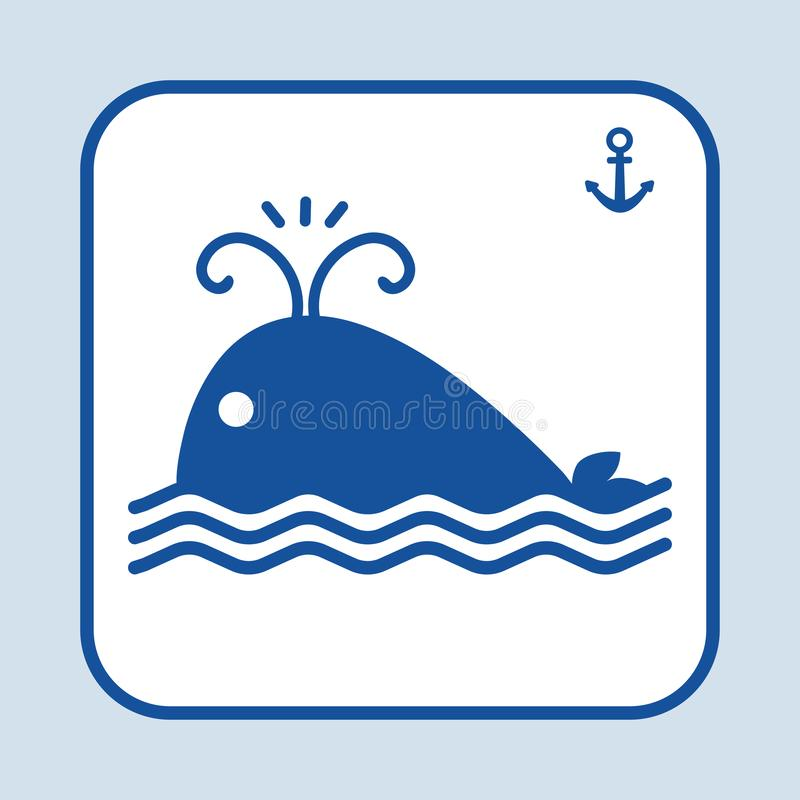 Błękit Rybia ikona Wielorybi dopłynięcie w oceanie lub morzu Szyldowa kotwica błękitny morski denny bezszwowy temat również zwróc royalty ilustracja