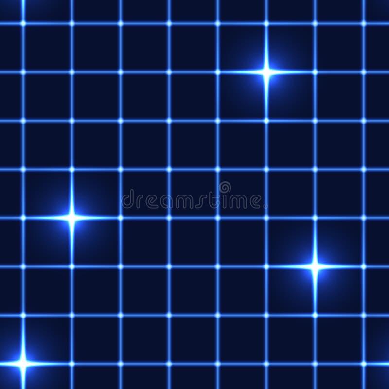 Błękit sieć lub siatka z shinning gwiazdami - bezszwowy tło royalty ilustracja