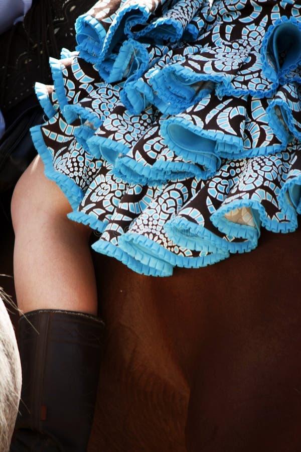 Błękit smokingowa dziewczyna jedzie brown konia obraz royalty free