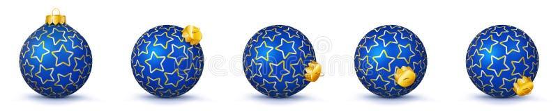 Błękit Srebne Wektorowe Bożenarodzeniowe piłki Ustawiać z teksturą - Mas Baub ilustracji