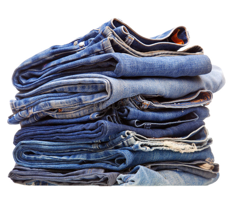 błękit sterta odzieżowa drelichowa fotografia stock