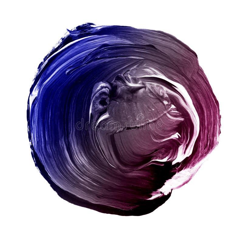 Błękit, szarość, fiołek textured akrylowego okrąg Watercolour plama na białym tle ilustracji