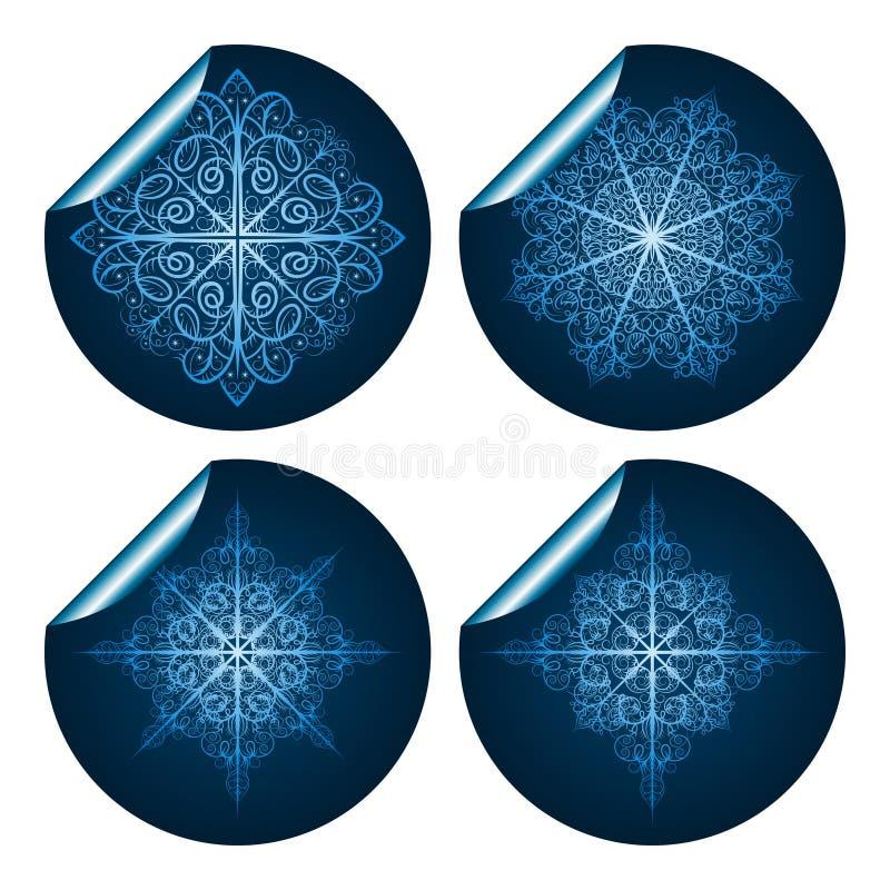 błękit szczegółowi wysoce płatka śniegu majchery royalty ilustracja