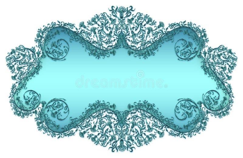 błękit tekst adamaszkowy kwiecisty ramowy ilustracji