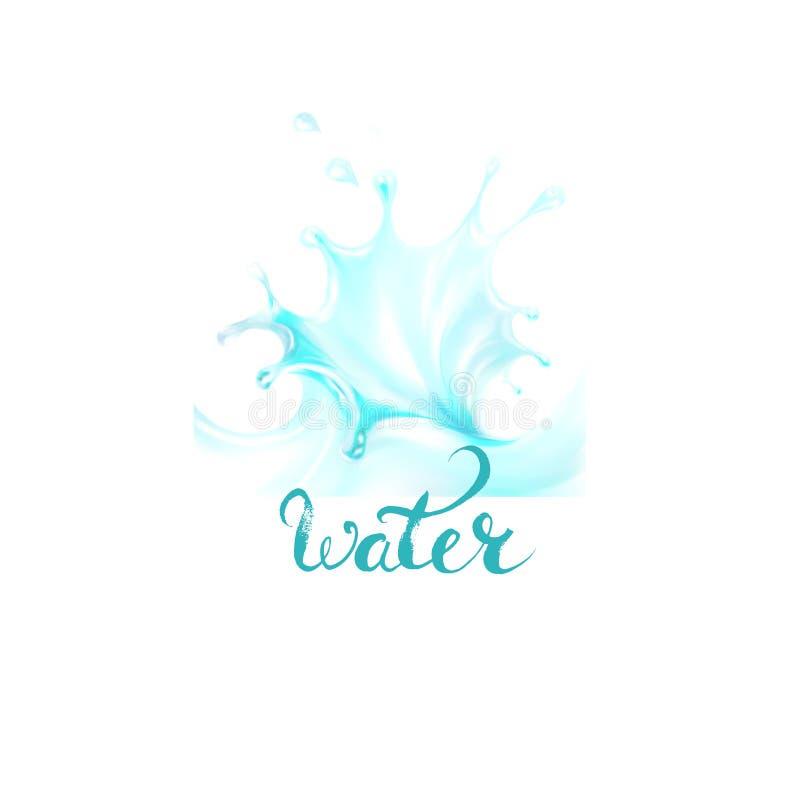 Błękit, wodne chełbotanie krople; wektor ilustracja wektor