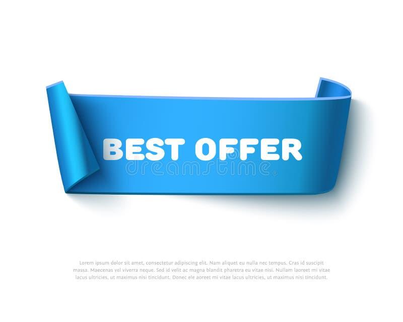 Błękit wyginający się papierowy tasiemkowy sztandar z rolkami ilustracja wektor