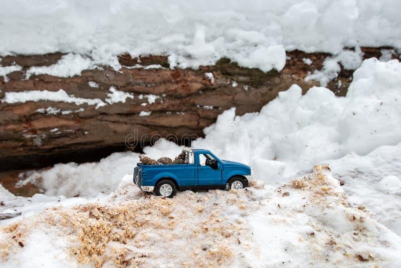 Błękit zabawkarska furgonetka w tartaku Wtykający przy snowdrift i trociny Niesie jedlinowych rożki z tyłu samochodowego ciała zdjęcie royalty free