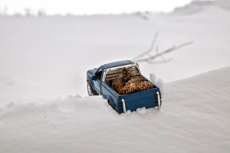 Błękit zabawkarska furgonetka w tartaku Wtykający przy snowdrift i trociny Niesie jedlinowych rożki z tyłu samochodowego ciała fotografia stock
