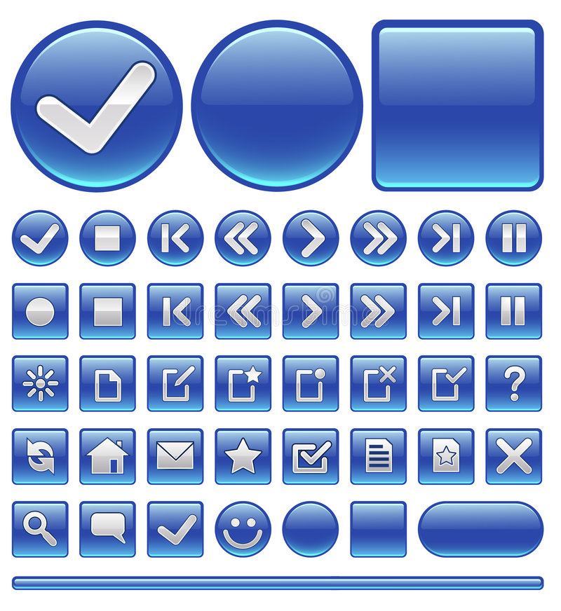błękit zapina ikony sieć ilustracja wektor