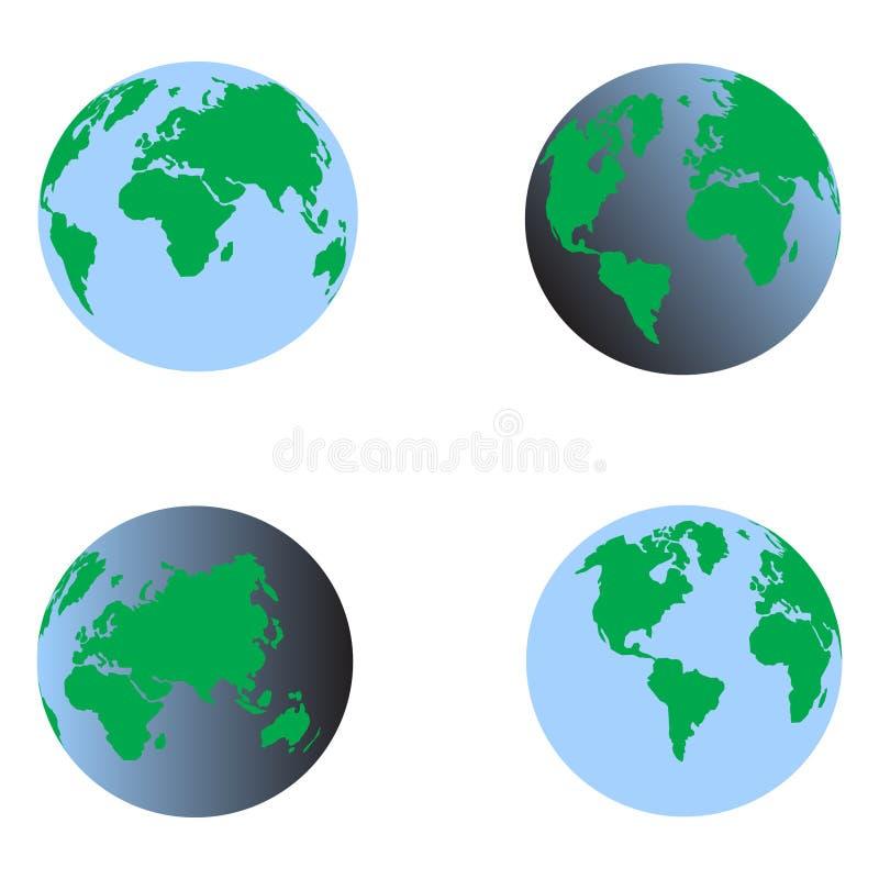 Błękit ziemi ustalony 3d wektor ilustracji