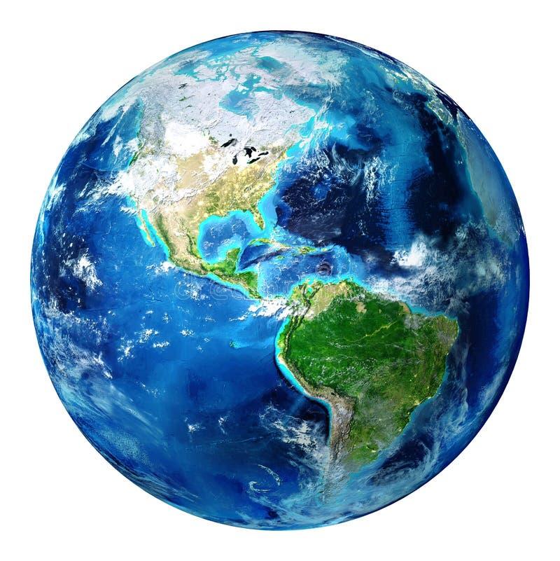 Błękit ziemska kula ziemska odizolowywająca - usa ilustracji