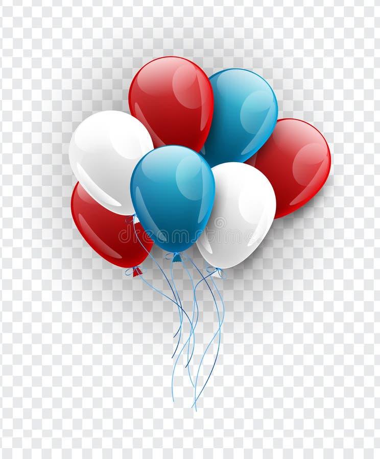 Błękita, czerwieni i białych balony w fladze amerykańskiej, barwią na przejrzystym tle 4th Lipa lub dnia pamięci dekoracja ilustracja wektor