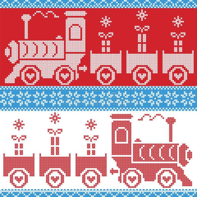 Błękita, czerwieni i bielu Skandynawski Bożenarodzeniowy Północny Bezszwowy wzór z sosu pociągiem, prezenty, gwiazdy, płatki śnie ilustracji