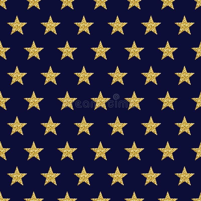 Błękita deseniowy tło z złotymi połyskuje gwiazdami, wektorowa bolączka royalty ilustracja