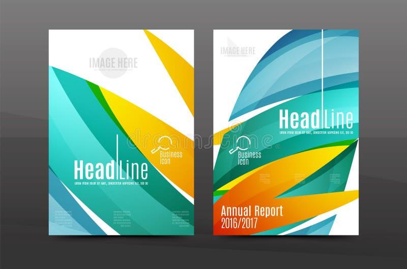 Błękita falowego sprawozdania rocznego okładkowy szablon ilustracja wektor