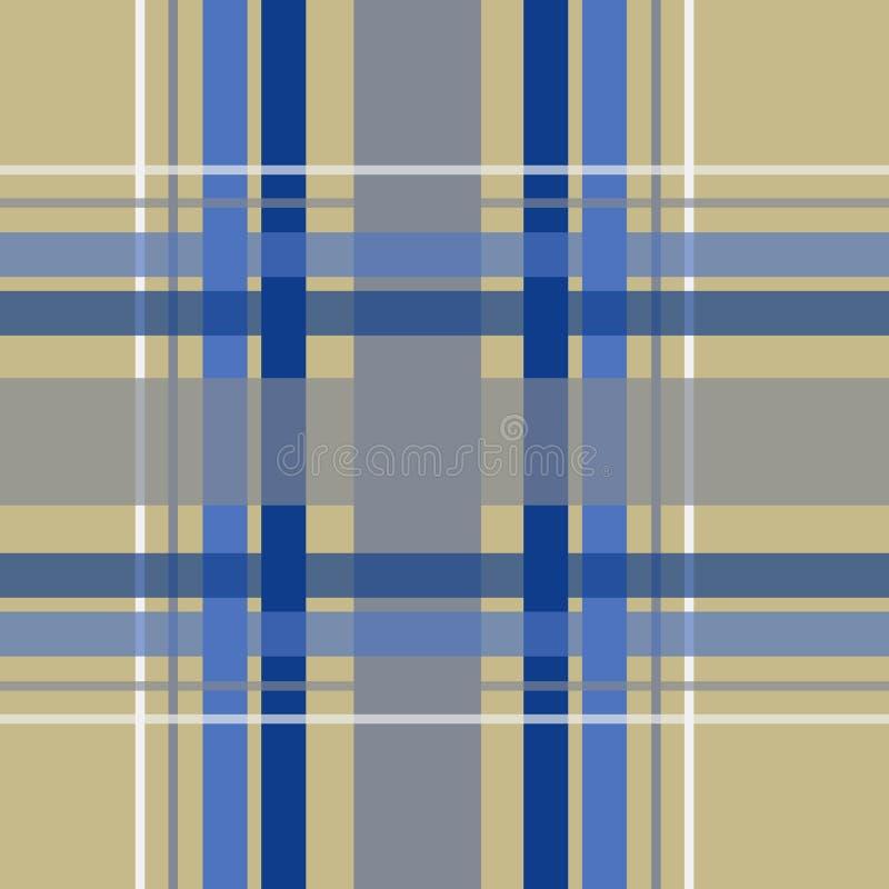 Błękita i Brown szkockiej kraty bezszwowy wektor deseniuje tło ilustracja wektor