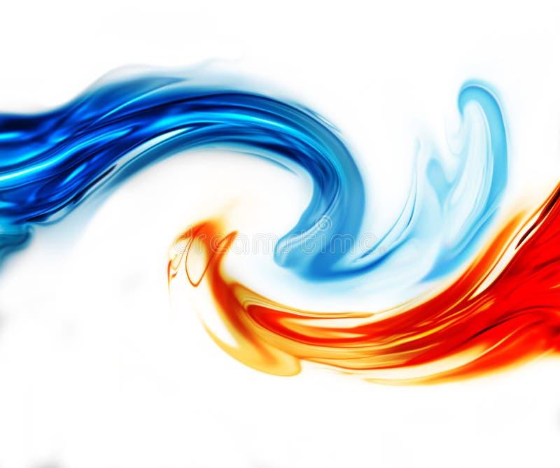 Błękita i czerwieni fala ilustracja wektor