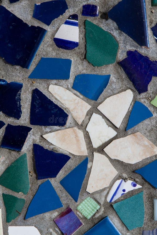 Błękita i zieleni mozaiki Dachówkowa tekstura obrazy royalty free