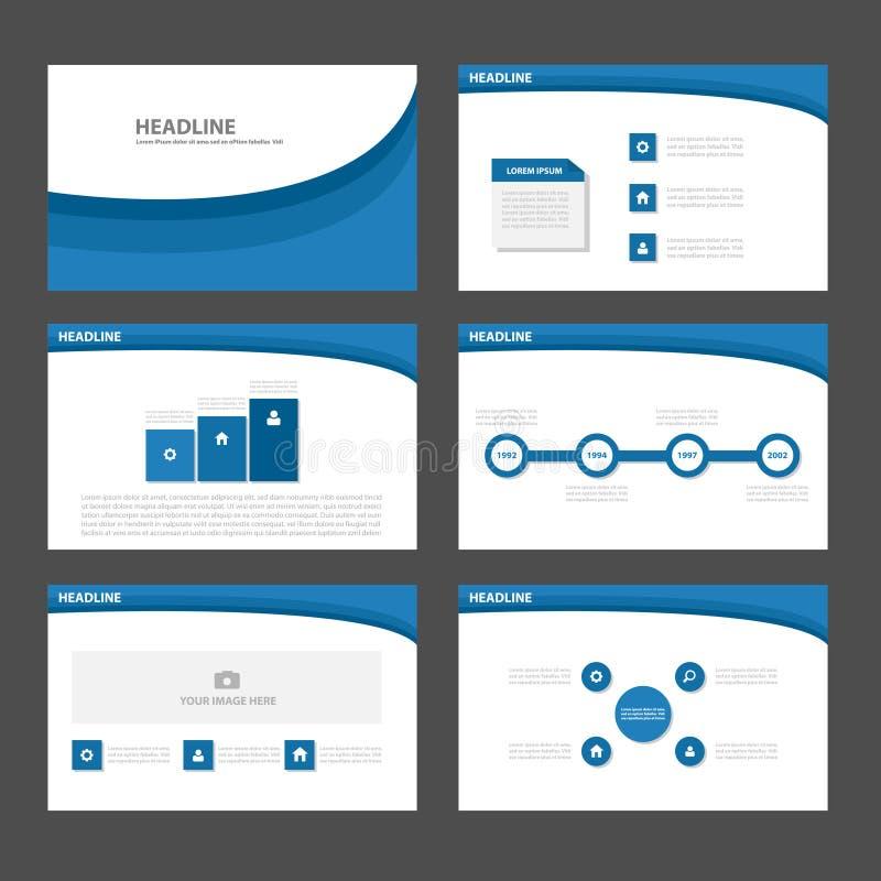 Błękita Infographic elementów ikony prezentaci falowego szablonu płaski projekt ustawia dla reklamowej marketingowej broszurki ul royalty ilustracja