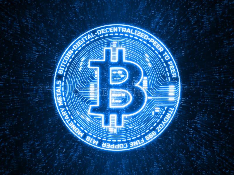 Błękita jarzeniowy cyfrowy bitcoin na abstrakcie kropkuje technologii tło Dla crypto rynek walutowy wymiany promocji, wiadomość royalty ilustracja