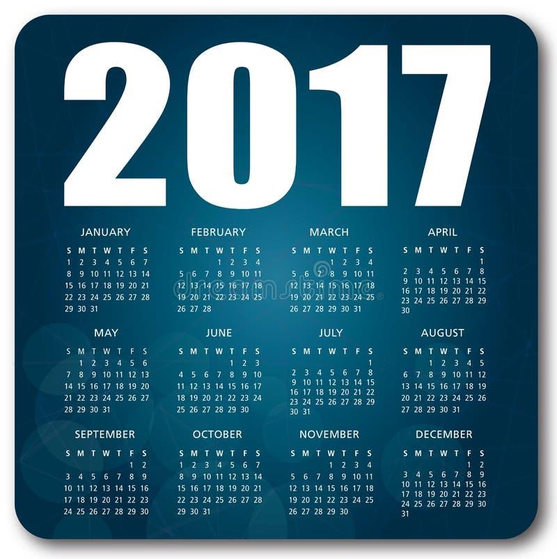 Błękita kalendarz 2017 ilustracja wektor