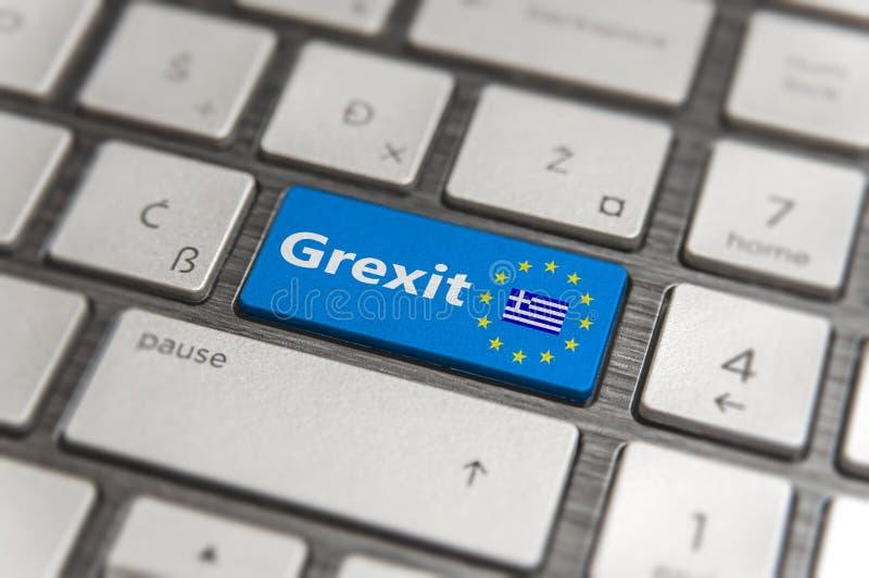 Błękita klucz Wchodzić do Grecja Grexit z UE klawiaturowym guzikiem na nowożytnej desce zdjęcie stock