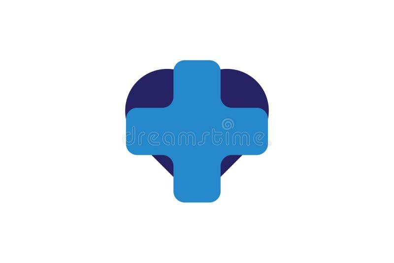 Błękita krzyż, Medyczny zdrowy logo Projektuje inspirację Odizolowywającą na Białym tle royalty ilustracja