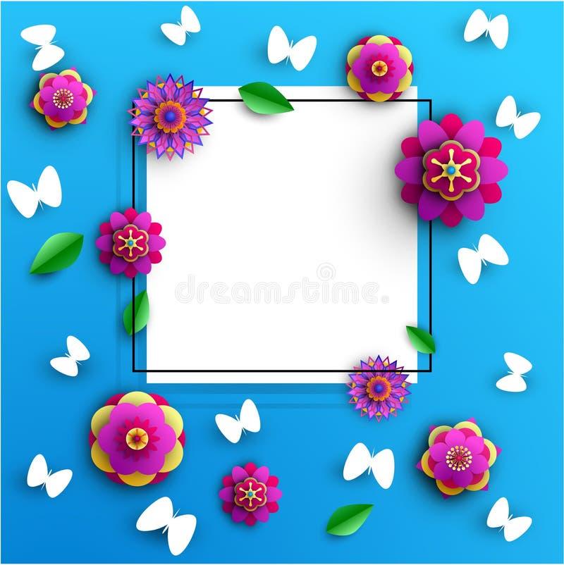 Błękita kwadratowy tło z kwiatami i motylami ilustracji