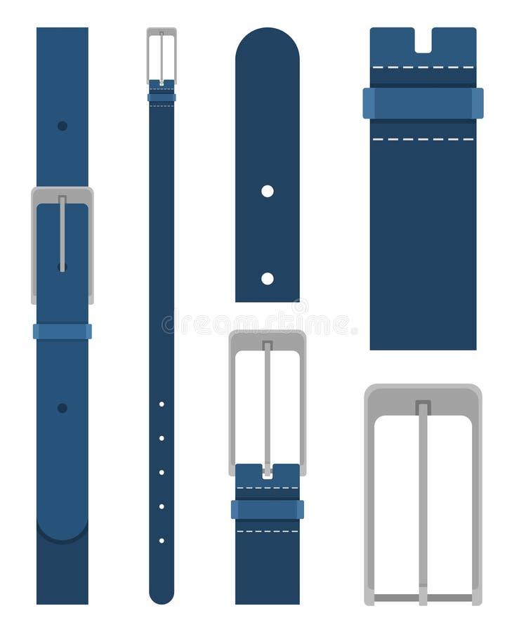 Błękita pasek z klamrą odizolowywającą na białym tle Element odzież projekt Pasowy trouser w mieszkanie stylu royalty ilustracja