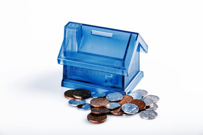 Błękita pieniądze Domowy pudełko na Białym tle fotografia royalty free