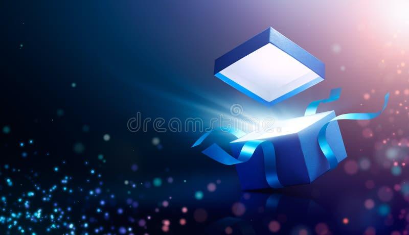 Błękita prezenta otwarty pudełko z magicznym światłem ilustracja wektor