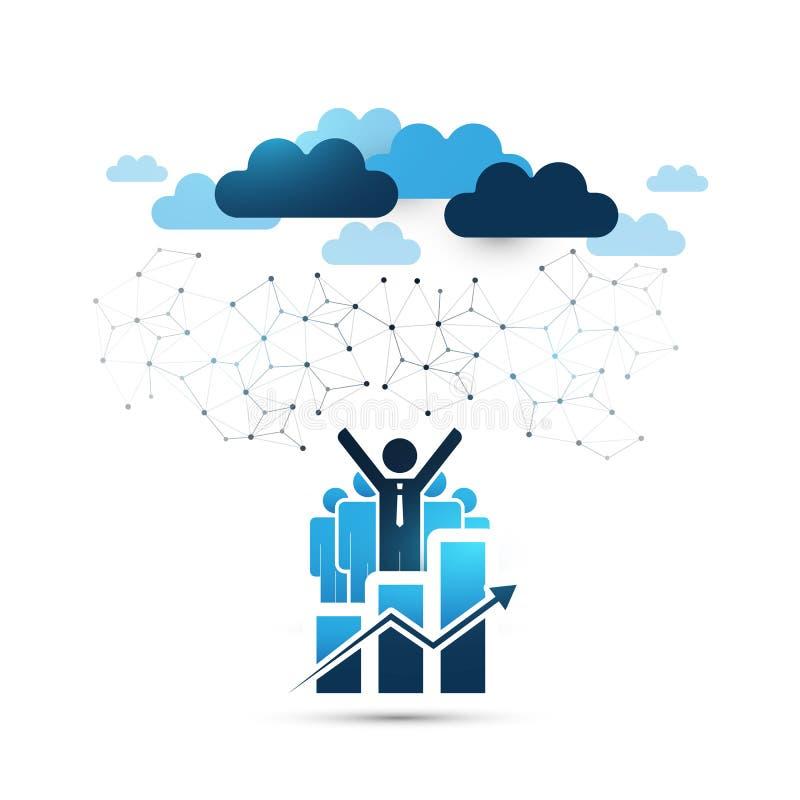 Błękita projekta Obłoczny Oblicza pojęcie z Szczęśliwymi biznesmenami - Online zarządzanie przedsiębiorstwem, sieć związki, techn ilustracji
