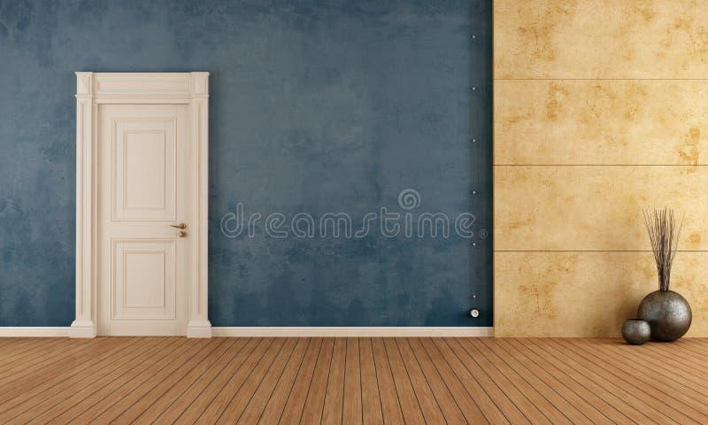 Błękita pusty retro pokój ilustracja wektor