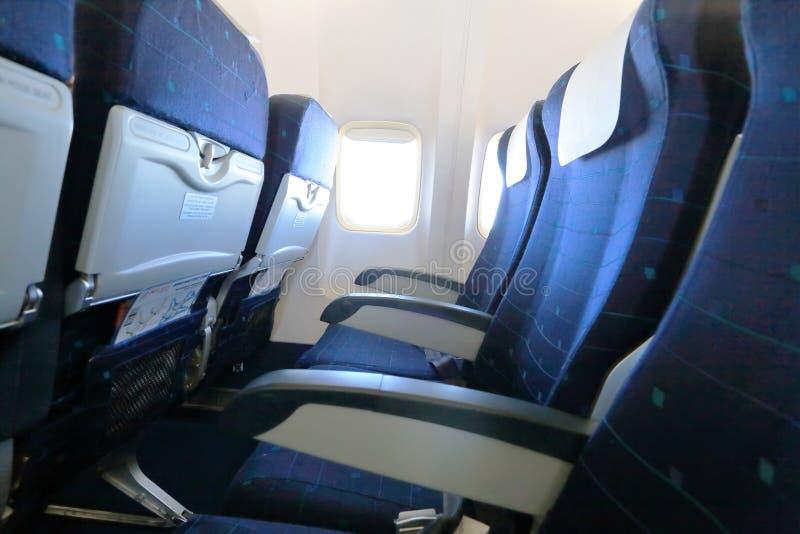 Błękita samolotu puści siedzenia zdjęcia royalty free