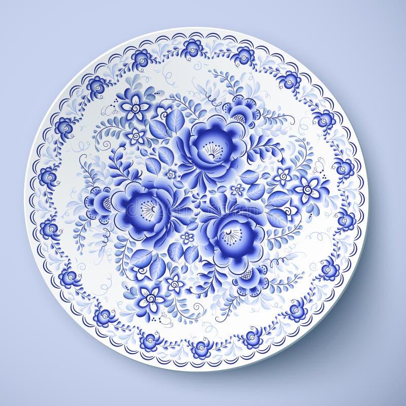 Błękita talerz z kwiecistym ornamentem w gzhel stylu ilustracji
