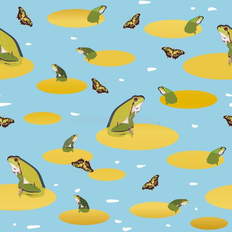 Błękita wzór z żabą i motylem royalty ilustracja