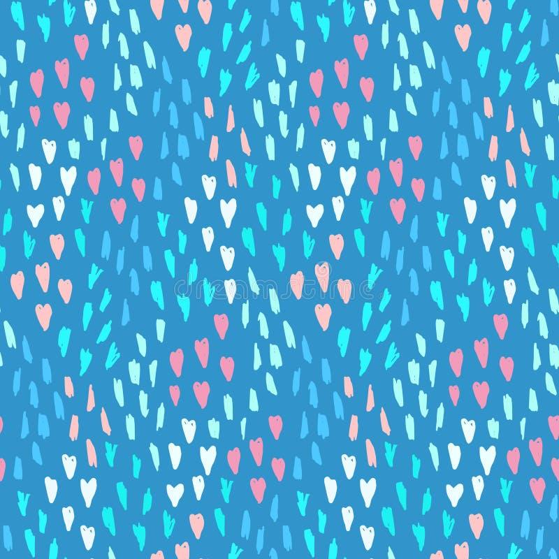 Błękita wzór z bałaganem serca, kropkuje i kształtuje ilustracji
