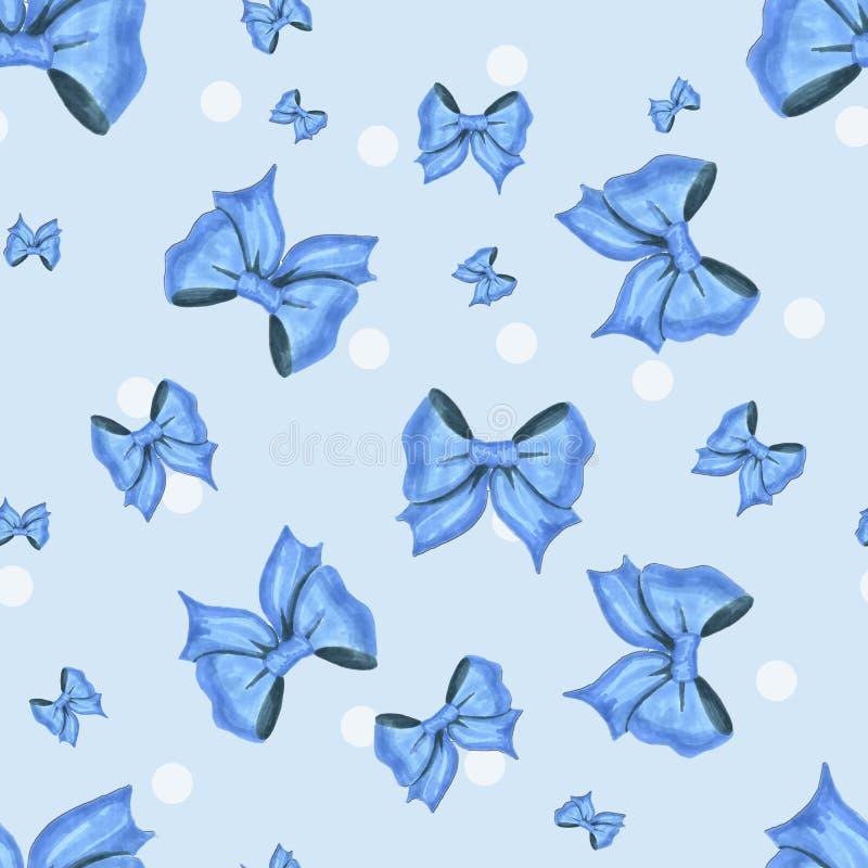 Błękita wzór z biel łękami i kropkami ilustracja wektor