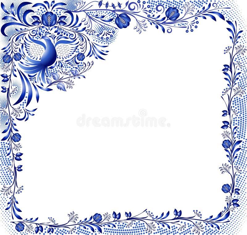 Błękita wzór z ptakiem i kwiatami na białym tle w stylu orientalnego porcelana obrazu Kwadratowa rama z kątem e royalty ilustracja