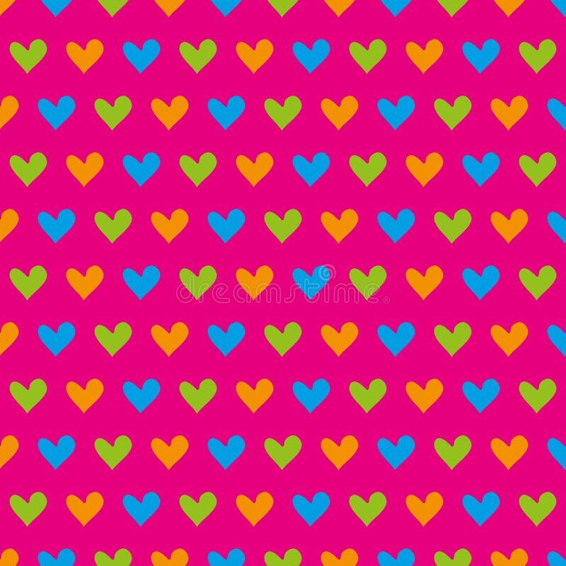 Błękita, zieleni i pomarańcze serc bezszwowy wzór na różowym tle, zdjęcia royalty free
