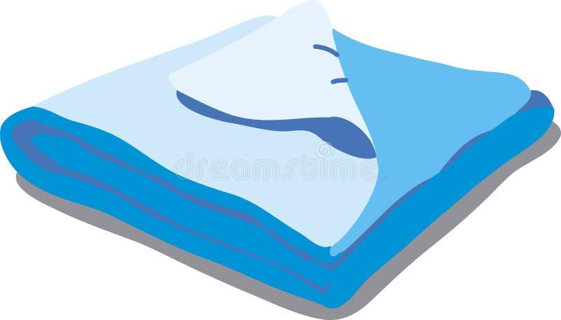 Błękitna łóżkowa pościel ilustracja wektor
