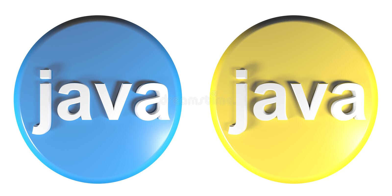 Błękitna - Żółci okręgu JAWA pchnięcia guziki - 3D renderingu ilustracja royalty ilustracja