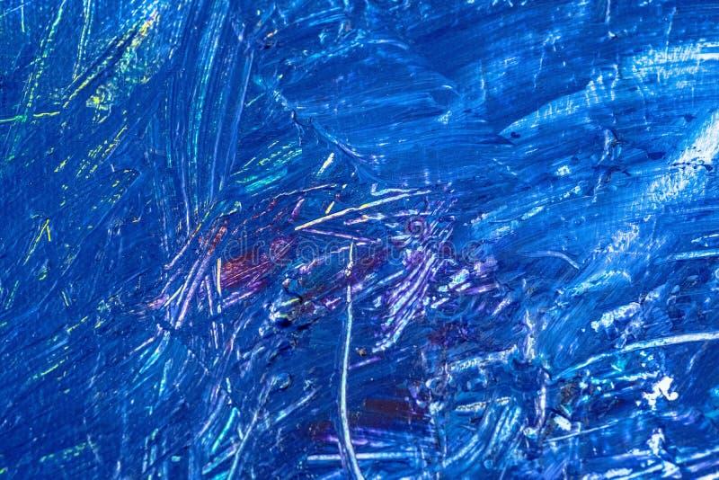 Błękitna abstrakcjonistyczna ręka malował brezentowego tło, tekstura Kolorowy textured tło fotografia royalty free