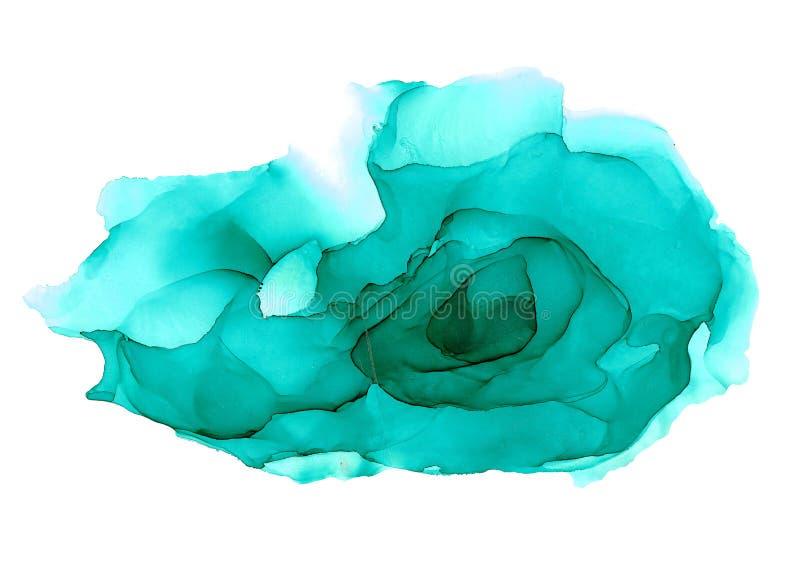 Błękitna abstrakcjonistyczna ręka malujący alkoholu atramentu tło royalty ilustracja